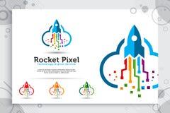 Rakietowej piksel chmury wektorowy logo z pojęciem, ilustracji rakiety chmurą i pikslem jako symbol ikona oprogramowanie prostym  royalty ilustracja