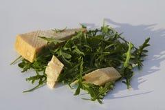 Rakietowi liście i Włoski ciężki ser na popielatym tle fotografia stock