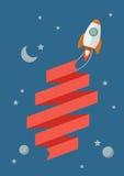 Rakietowy latanie w przestrzeni z sztandarem Obrazy Royalty Free