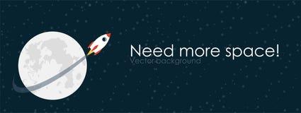 Rakietowy latanie wokoło księżyc Wektorowy illustartion z kopii przestrzenią Obraz Royalty Free