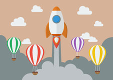 Rakietowy wszczynać nad gorące powietrze balonami Obrazy Stock