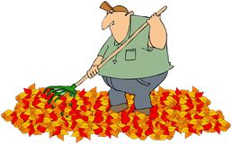 Raking autumn leaves. This illustration depicts a man raking a pile of colorful autumn leaves Stock Photos