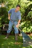 Raking gardener. Man raking in the garden Royalty Free Stock Image