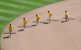 Raking infield Major League Baseball game Royalty Free Stock Photos
