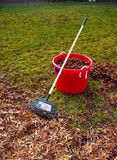 Raking leaves. One of the chores of fall is raking the leaves Stock Images