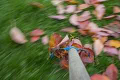 Raking leaves. Autumn work in the garden - long exposure time - accentuating movement in the photo royalty free stock photo