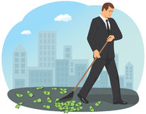 Raking in the money Royalty Free Stock Photo