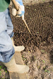 Raking Soil Royalty Free Stock Images