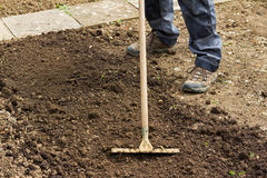 Raking Soil Royalty Free Stock Photography