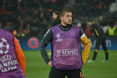 Rakitskiy preparing for the match of the Champions League Stock Images