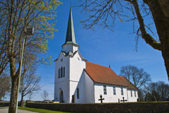Rakkestad church. Is the main church in the parish Rakkestad, Østfold. The church is a Romanesque medieval church with a rectangular nave and narrower and Stock Photos