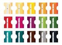 Rakknivar i 15 olika färger för blyertspennor arkivfoto