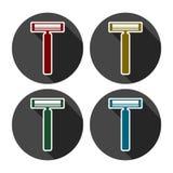 Rakknivlägenhetdesign, färgsymbolsuppsättning stock illustrationer