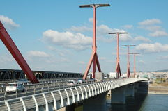 Rakoczi bridge. Main road over a bridge with traffic at Budapest (old name: Lagymanyosi bridge stock photos
