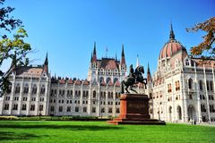 Rakoczi monument in front of Budapest parliament stock images