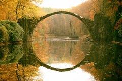 Rakotz桥梁Rakotzbrucke,恶魔` s桥梁在Kromlau,萨克森, 免版税库存照片