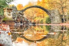 Rakotz桥梁Rakotzbrucke,恶魔` s桥梁在Kromlau,萨克森, 库存图片