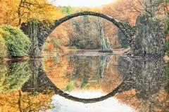 Rakotz桥梁Rakotzbrucke,恶魔` s桥梁在Kromlau,萨克森, 免版税库存图片