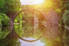 Rakotz bridge (Rakotzbrucke) also known as Devil's Bridge in Kro. Mlau, Germany. Reflection of the bridge in the water create a full circle Royalty Free Stock Photography