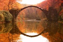 Rakotz bridge Rakotzbrucke, Devil`s Bridge in Kromlau, Saxony Stock Photography