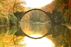 Rakotz bridge Rakotzbrucke, Devil`s Bridge in Kromlau, Saxony Royalty Free Stock Photo