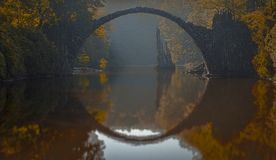 Half a Circle. A Bridge Reflecting on the water making a perfect circle Royalty Free Stock Photos