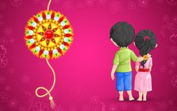 Raksha Bandhan. Vector illustration of brother sister in raksha bandhan Royalty Free Stock Images