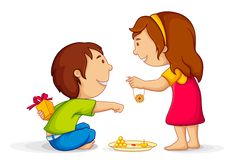 Raksha Bandhan. Illustration of brother and sister celebrating Raksha Bandhan Stock Images