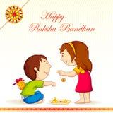 Raksha Bandhan. Vector illustration of brother sister in raksha bandhan Stock Photography
