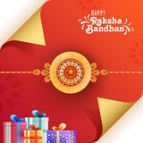 Raksha Bandhan festival celebration concept with illustration of. Rakhi and gift boxes on curled paper background decorated with floral elements Stock Images