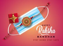 Free Raksha Bandhan Greeting Card With Decorative Rakhi, Gift Box, Indian Festival For Brother And Sister Bonding Celebration With Text Stock Photo - 190709330