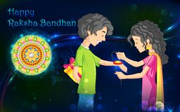Raksha Bandhan. Illustration of brother and sister tying rakhi on Raksha Bandhan Stock Image