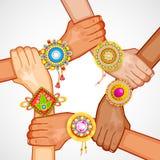 Raksha Bandhan. Illustration of colorful rakhi tied on hand in Raksha Bandhan Royalty Free Stock Photography