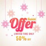 Raksha Bandhan sale banner or flyer design with hanging ornament. Al flowers and 50% discount offer Stock Photo