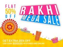Raksha Bandhan Sale Poster, insegna o aletta di filatoio Immagini Stock Libere da Diritti