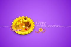Raksha Bandhan. Vector illustration of rakhi pooja thali for Raksha Bandhan Royalty Free Stock Photography