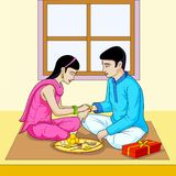 Raksha Bhandhan, brother and sister festival India. In vector Stock Image