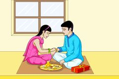 Raksha Bhandhan, brother and sister festival India. In vector Stock Photography