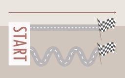 Raksträcka för två parallell vägar och spolning från från vänster till höger från skyltstarten till fullföljandeflaggan på ett lj vektor illustrationer