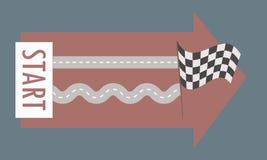 Raksträcka och spolning för två parallell vägar från från vänster till höger från minnestavlorna med ordstarten till den svartvit vektor illustrationer