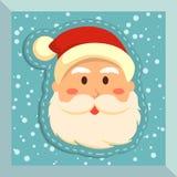 Rakt framifrån Santa Merry Christmas Blue Royaltyfri Fotografi