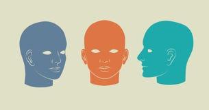 Rakt framifråna mänskliga huvud, halva-framsida och trekvarts- Vektorsilho Royaltyfria Foton