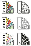 Ral colors sampler  icon. Ral colors palette  icons in six different versions Royalty Free Stock Photos