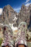 Ralaxation in mountains. Tourists relaxing in the mountains of the Brenta-Dolomites Italy Royalty Free Stock Photo