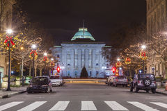Raleigh capital at night. Street level scene at night of Raleigh, North Carolina and capital building Stock Photography