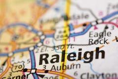 Raleigh, Carolina del Norte en mapa imágenes de archivo libres de regalías