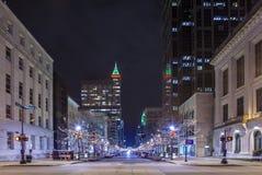 Raleigh en la noche Foto de archivo libre de regalías