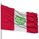 Raleigh Flag sur le mât de drapeau, ondulant sur le fond blanc Photos libres de droits