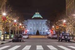 Raleigh huvudstad på natten Arkivbild