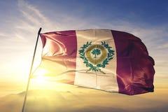 Raleigh miasta kapitał Pólnocna Karolina Stany Zjednoczone flagi tkaniny tekstylny sukienny falowanie na odgórnej wschód słońca m fotografia stock